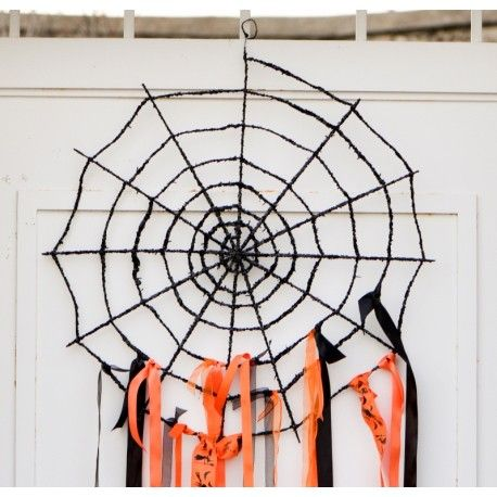 Déco toile d'araignée noire en métal pailleté