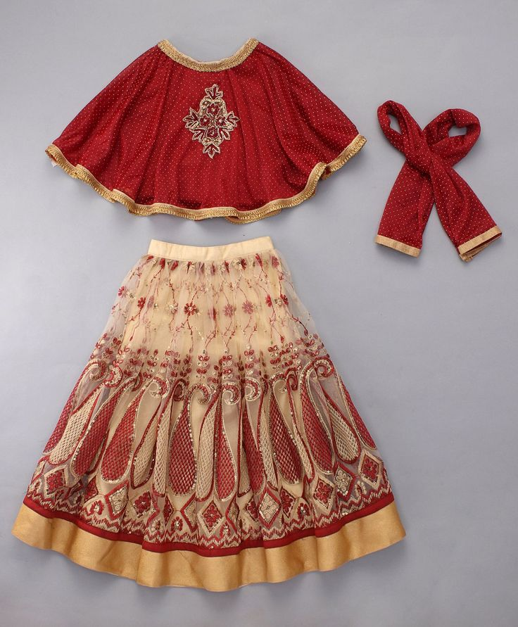 Little Bride Rust Lehenga Choli Set With Cape  #indian #girlslehenga