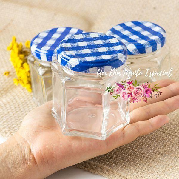 pote de vidro sextavado tampa xadrez azul lembrancinhas casamento decoração loja virtual compre online são paulo - Lembrancinhas e Decoração Romântica para Festas | Um Dia Muito Especial