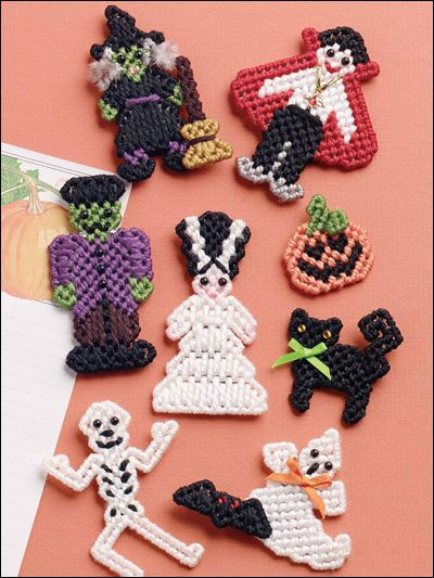 Plastic Canvas - Kitchen Patterns - Halloween Magnets