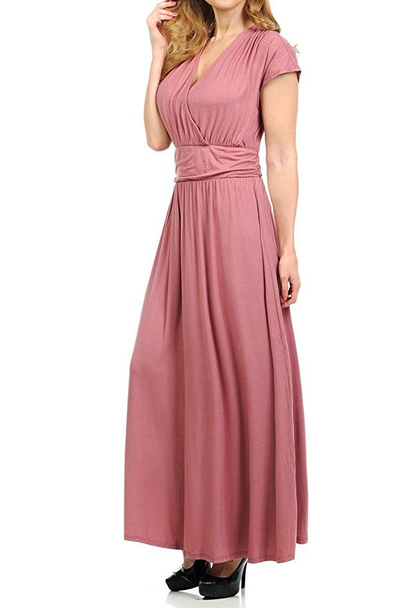 Solid Pink Maxi Dress with Cap Sleeves