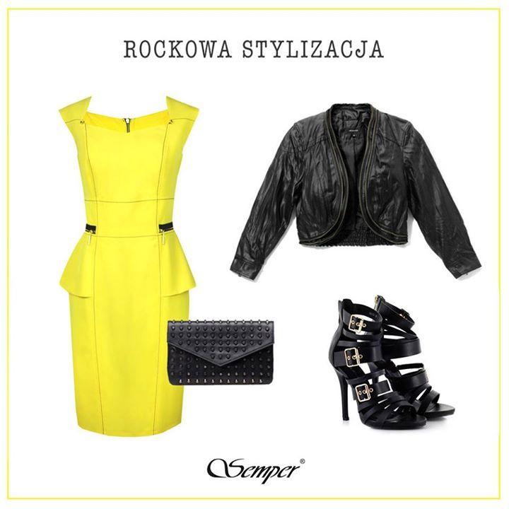 Już niedługo weekend, co powiecie na taką rockową stylizację?  Żółta sukienka w przecenie  http://bit.ly/SemperZolta