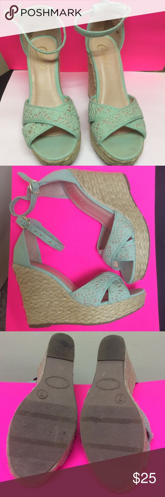Candies 🍭Mint Green Wedges Size 7 Mint Green wedges with tan woven heels. Has normal wear but in EUC! Candie's Shoes Wedges