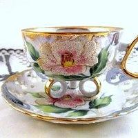 Šálek na čaj * bílý porcelán s malovanou třpytivou růží, zdobený zlatem s moderním designem♥