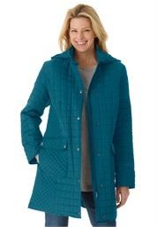 Discount On Woman Within® Quilted A-Line Coat with Hood