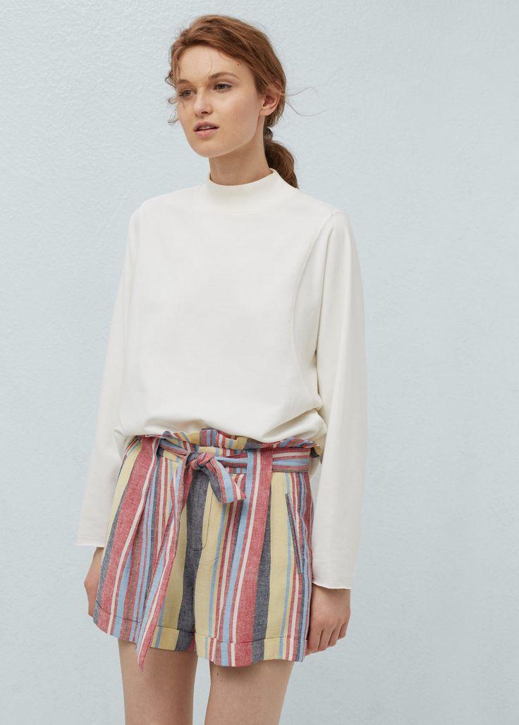 Bermudas lino rayas - Pantalones de Mujer | MANGO España