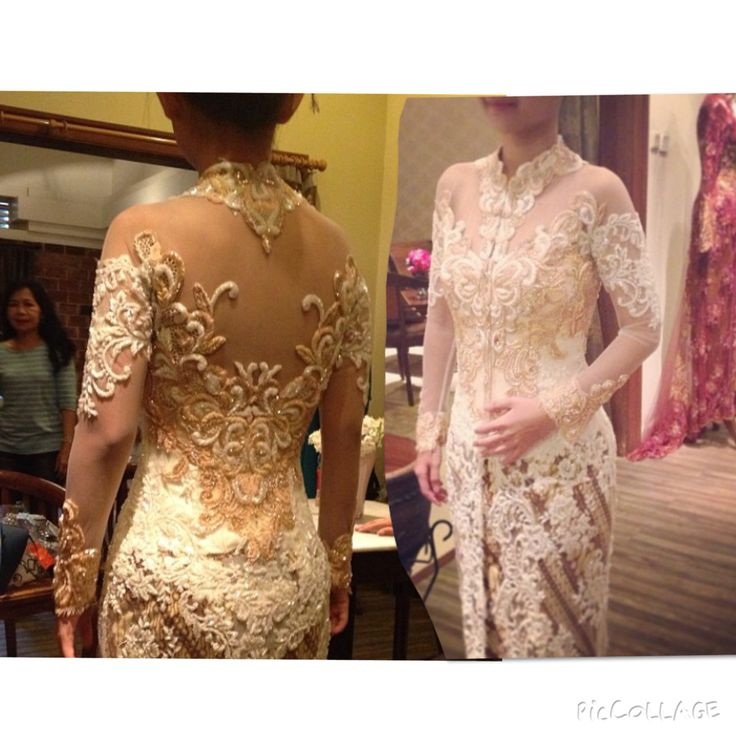 White and peach #kebaya by Adit