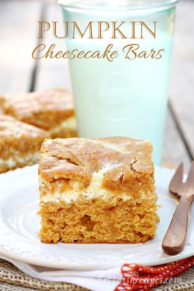 Pumpkin Cheesecake Bars | Spiced pumpkin bars with a ribbon of sweetened cream cheese filling. #recipe