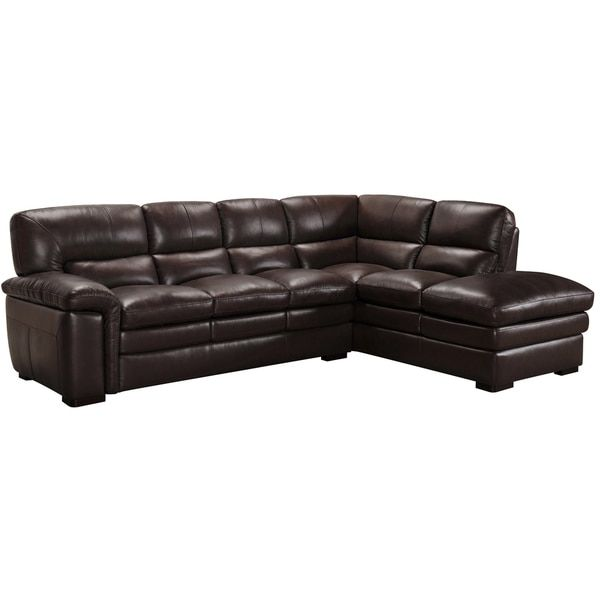 Portland Premium Top Grain Brown Leather Sectional Sofa