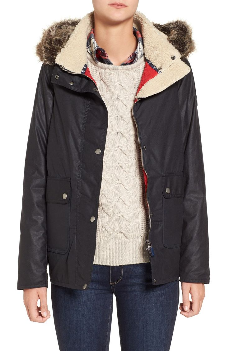 New Barbour 'Cravasse' Water Repellent Waxed Cotton Jacket with Faux Fur Trim , Price $449 Price Sale: $329.9( 25% off) @ nordstrom