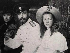 Tsar Nicholas II, his Mother Dowager Empress Marie behind him and his sister Grand Duchess Olga Alexandrovna