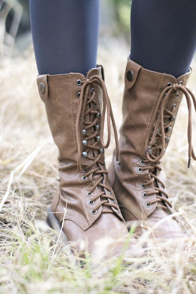 Deb Shops lace up combat boots  leather, faux leather, black, brown, tan combat boots paired with leggings or shorts