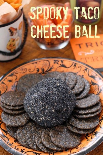 Spooky Taco Cheese Ball ~ AWESOME recipe! (check out the Ghoulish Green Goddess Dip recipe too!)