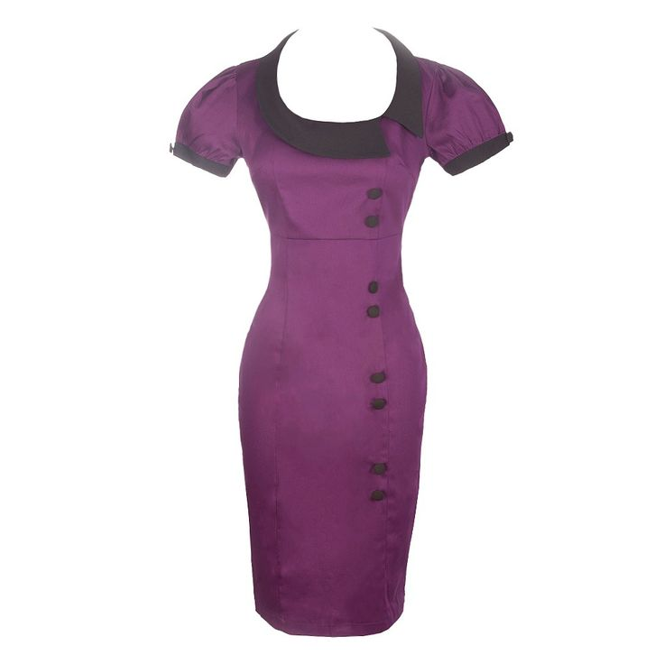 Show off your curves in this purple fitted midi dress with contrasting black collar and button detailing. It is a showstopping garment and a wardrobe must have this part season.  Machine Wash Cold, Do Not Iron, Line Dry