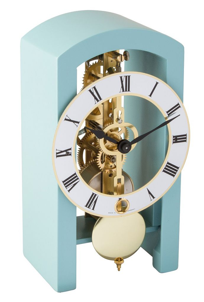 Hermle PATTERSON Blue Mantel Clock 23015-S40721 - Arched wooden case Made in Virginia featuring a mechanical time only movement.