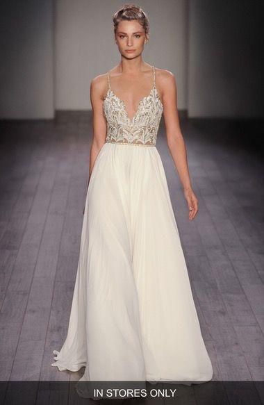 Teresa T Strap Back Embellished Chiffon A Line Gown Beach Wedding