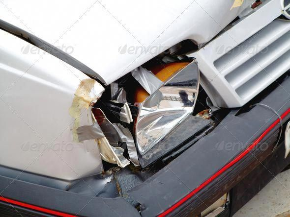 Broken Front Headlight On White Car Accident Auto Automobile