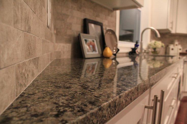 Caledonia Granite Tumbled Subway Tile Backsplash White