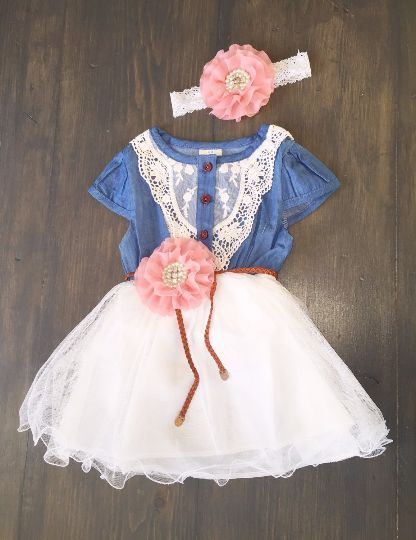 Denim in Lace Dress for girl, flower girl dress - toddler dress, lace girl dress, birthday dress, Easter dress, denim blue dress, cowgirl dress
