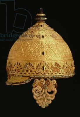 Celtic helmet found at Agris, Charante, 4th century BC (iron & bronze covered with gold & inlaid with coral)