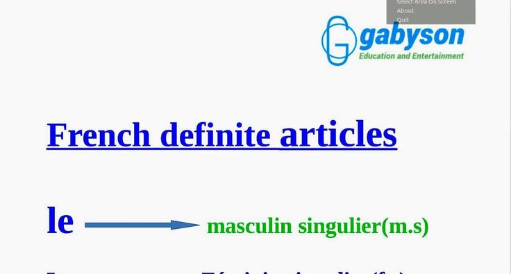 French Language Lesson 5: French Definite Articles