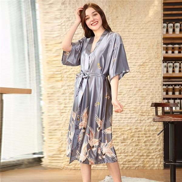 Crane printing silk-like robe wedding bride dressing gown home to the size robe