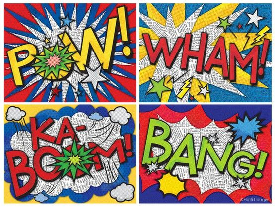 Superhero activities:  Student-created onomatopoeia art.  They chose their own word and then designed their creation on newspaper and colored with markers to look like superhero comic book art!  LOVE this idea.