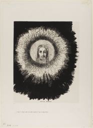 Odilon Redon. And in the Very Disk of the Sun Lights the Face of Jesus Christ, plate 10 from The Temptation of Saint Anthony (1st series), 1888. The Stickney Collection, 1920.1644. Mellerio 93; Werner 68