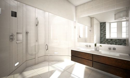 Kelly Solon modern bathroom. Continuous tiling to shower and wall mounted sink.