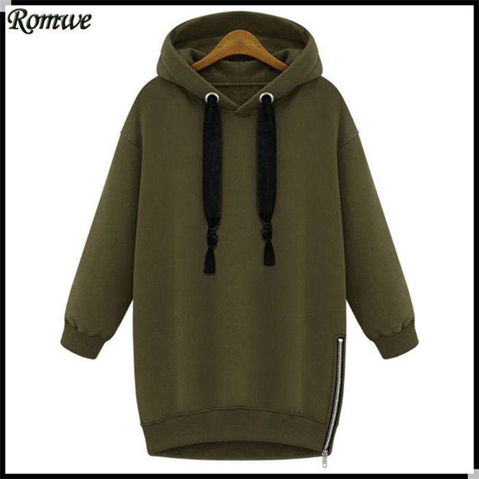 ROMWE Brand Women Sweatshirt Zipper Loose Plain Green Long Sleeve Fashion Female Cheap Clothes High Street Hoodies