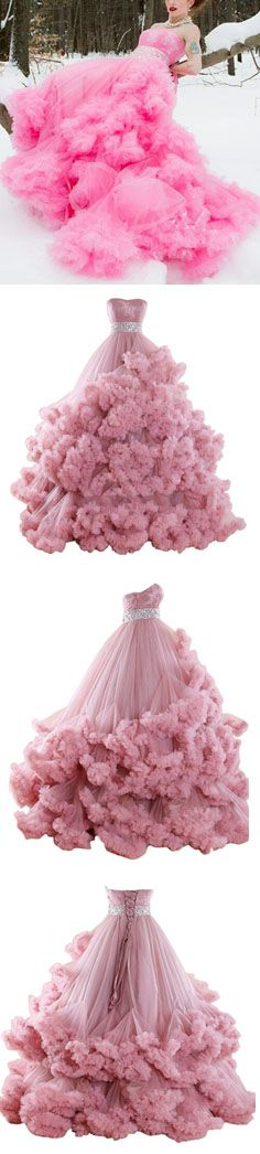 Grand Luxury Ball Gown Strapless Floor Length Tulle Wedding Dress With Beaded Tassel. Ball Gown Prom Dress, Pageant Dress #prom #evening #wedding #party #pageant