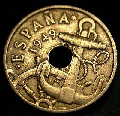 1949 (53) Spain 50 Centimos Captain's Wheel & Anchor A GREAT COIN!