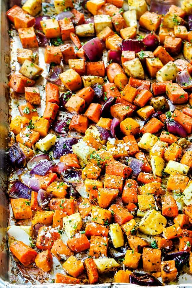 Roasted Root Vegetables On A Baking Tray With Beets Carrots