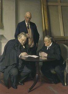 Conversation Piece (G.K. Chesterton; Maurice Baring; Hilaire Belloc) door Sir Herbert James Gunn, 1932