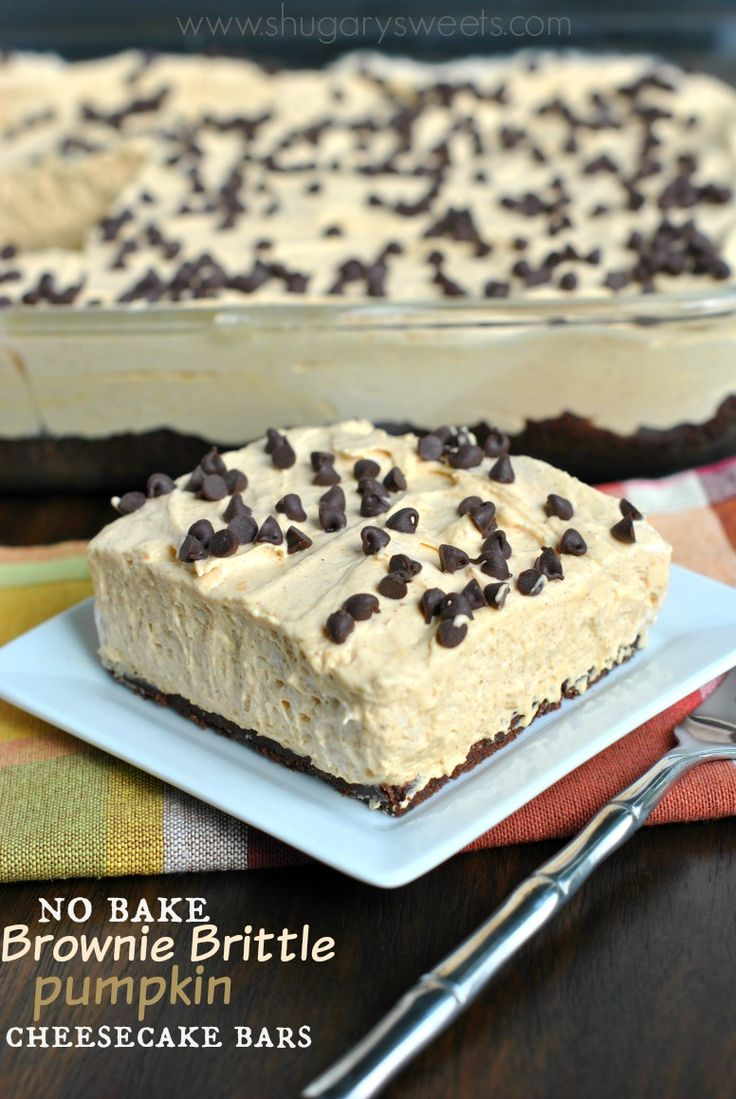 No Bake Brownie Brittle Pumpkin Cheesecake Bars are perfect when you want something delicious without all the work! These come together in 15 minutes!