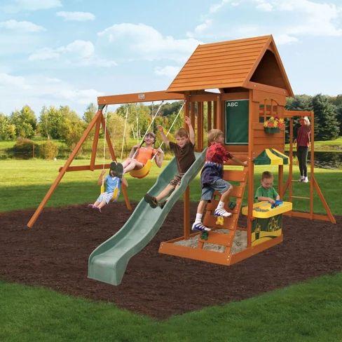 KidKraft Sandy Cove Wooden Swing Set/Playset | Wooden ...