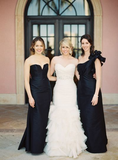 black bridesmaids - dark blue and scarlet wedding colour | fabmood.com | Photography: Kat Braman - http://www.katbramanphotography.com/