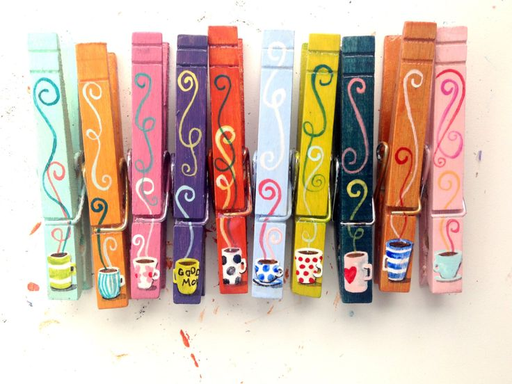 10 COFFEE or TEA CUPS clothespins hand painted magnets jewel tones by SugarAndPaint on Etsy