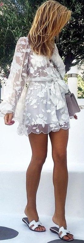 #fall #trending #outfits | White Lace Dress