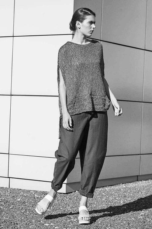 Купить ТУНИКА С КАЙМОЙ и горизонтальными протяжками из коллекции «Resort 2016» от Lesel (Лесель) российский дизайнер одежды