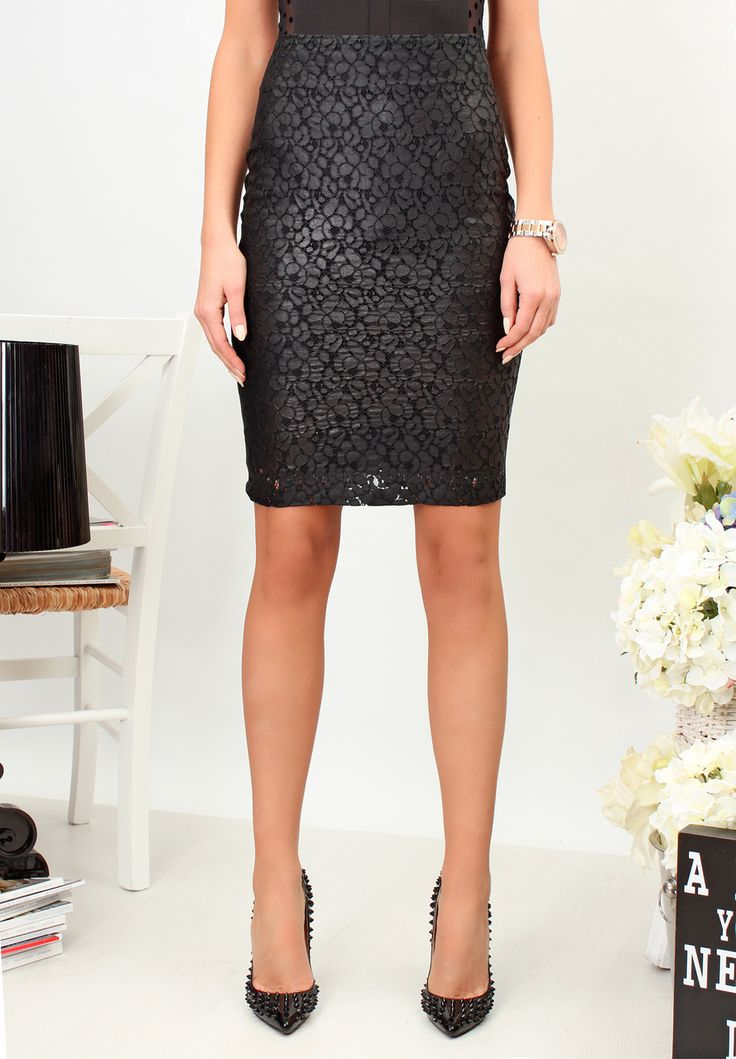 Black Lace Pencil Skirt - Baronesa Fashion House