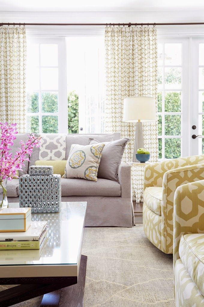 Contrasting Color Lavender and Gold mix great soft color palette in this Living Room: