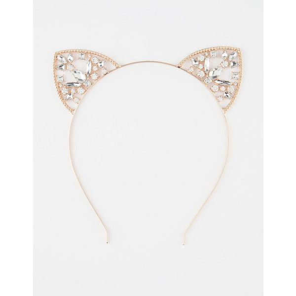 Full Tilt Kayla Cat Ears Headband ($7.99) ❤ liked on Polyvore featuring accessories, hair accessories, rhinestone hair accessories, full tilt, rhinestone headbands, hair band accessories and cat ear hairband