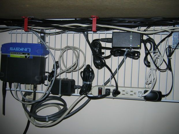 Picture of Computer desk cable management on the cheap
