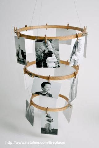 Your DIY Project Inspiration: Embroidery Hoop Photo Display #home #decor