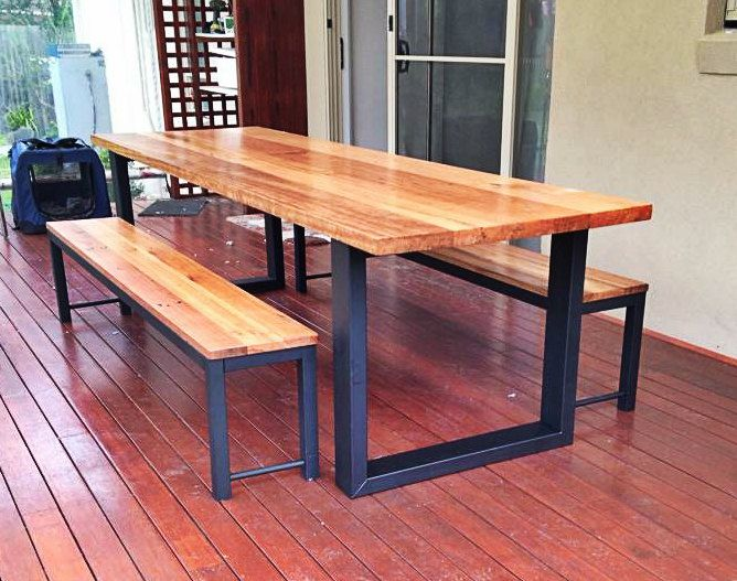 Steel hoop leg recycled messmate (eucalyptus) hard wood table and optional benche seats made to order in Australia (industrial meets timber) by UpcycledWoodOZ on Etsy