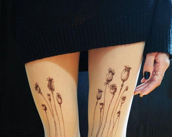 Tatouage de collants pavot coquelicot par TattooTightsTATUL sur Etsy