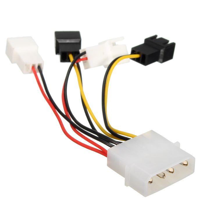 Ventiladores Excellway® 4 x 2Pin a D tipo 4Pin Cable Molex Power Y-Splitter 12v / 5v Para ventiladores de PC