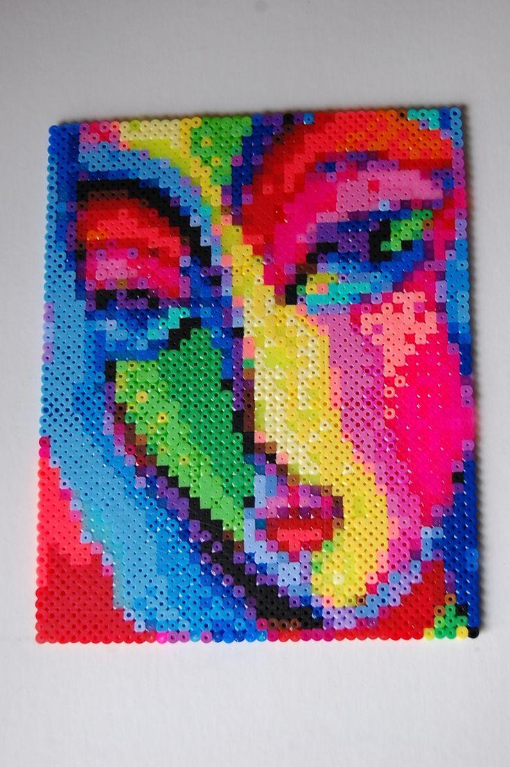 Art deco woman perler bead art made by Amanda Wasend aka lacy leather