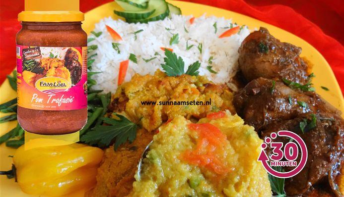 Surinaams eten – Pom Speciaal (pom met rijst, gestoofde kippenbouten en kousenband)
